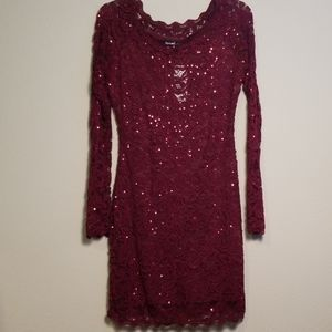 Red Sequin And Lace Bodycon Dress